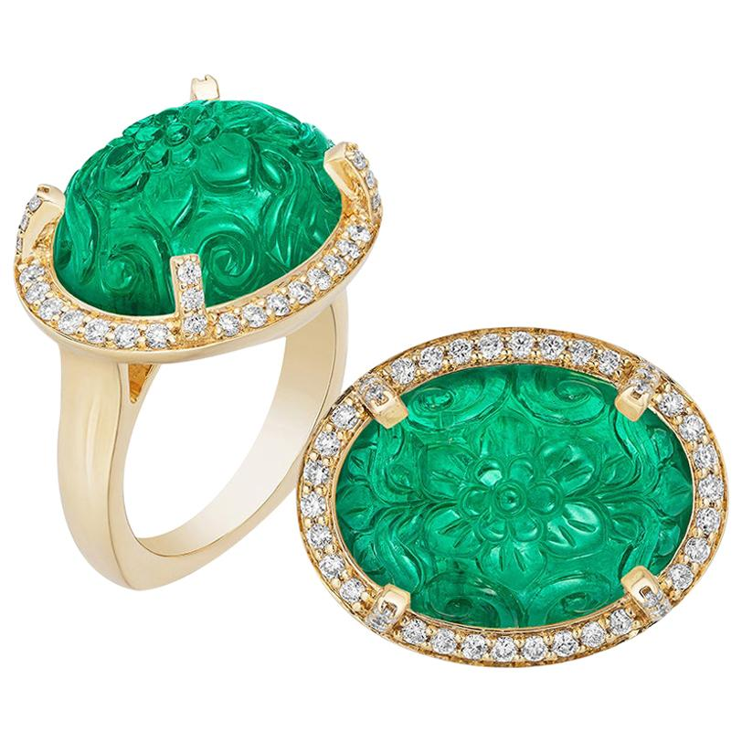 Goshwara Carved Emerald With Diamond Ring