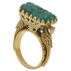 Carved Emerald Ring with Intricate Work Handcrafted Work in 22 Karat Yellow Gold