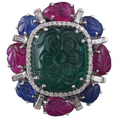 Carved Emerald  Ruby Blue Sapphire Baguette Diamond Tutti-Fruti Cocktail Ring