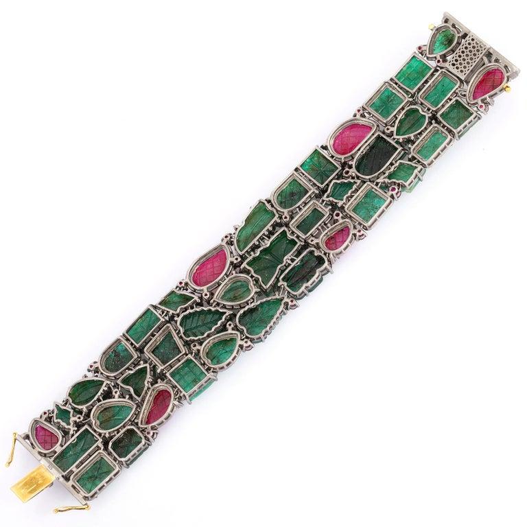 Artisan Carved Emerald Ruby Diamond Cuff Bracelet For Sale