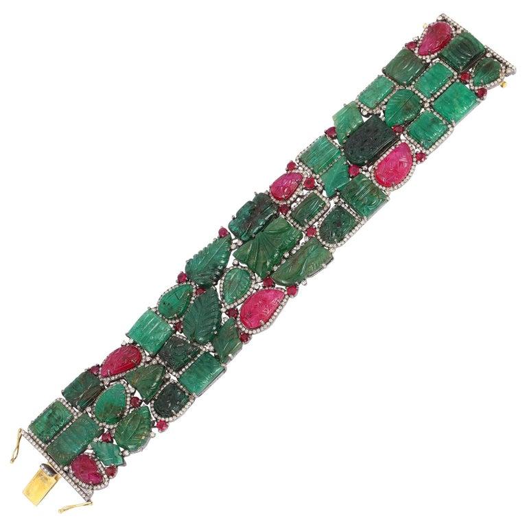 Carved Emerald Ruby Diamond Cuff Bracelet For Sale