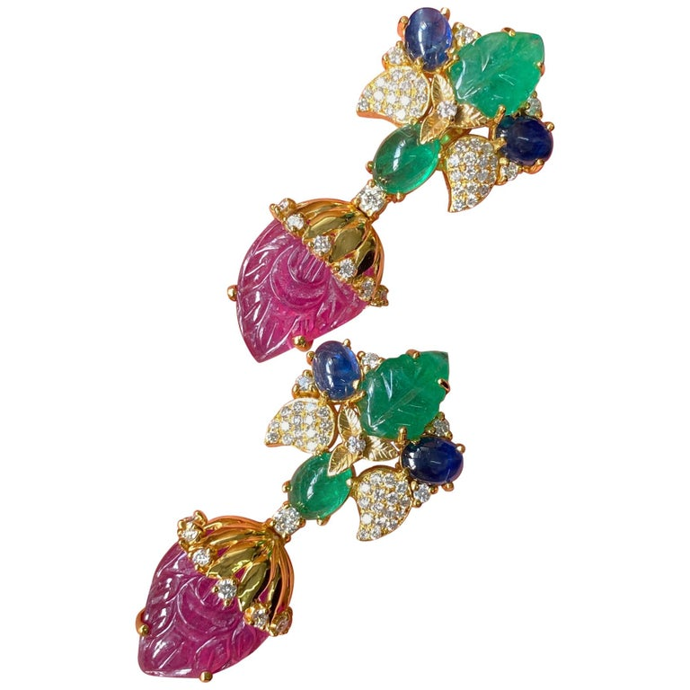 Emerald, ruby, sapphire, diamond and yellow gold earrings, new