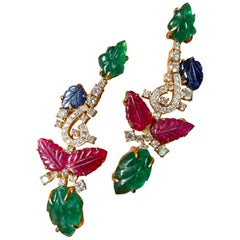 Carved Emerald, Ruby, Sapphire Dangle Earrings
