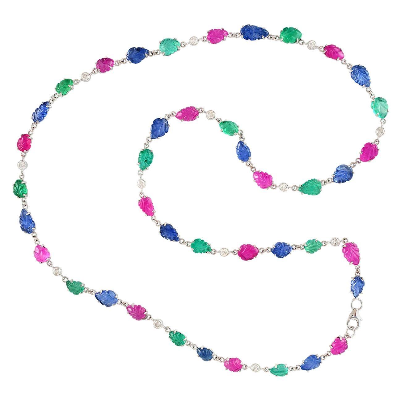 Carved Emerald Ruby Sapphire Diamond 18 Karat White Gold Necklace