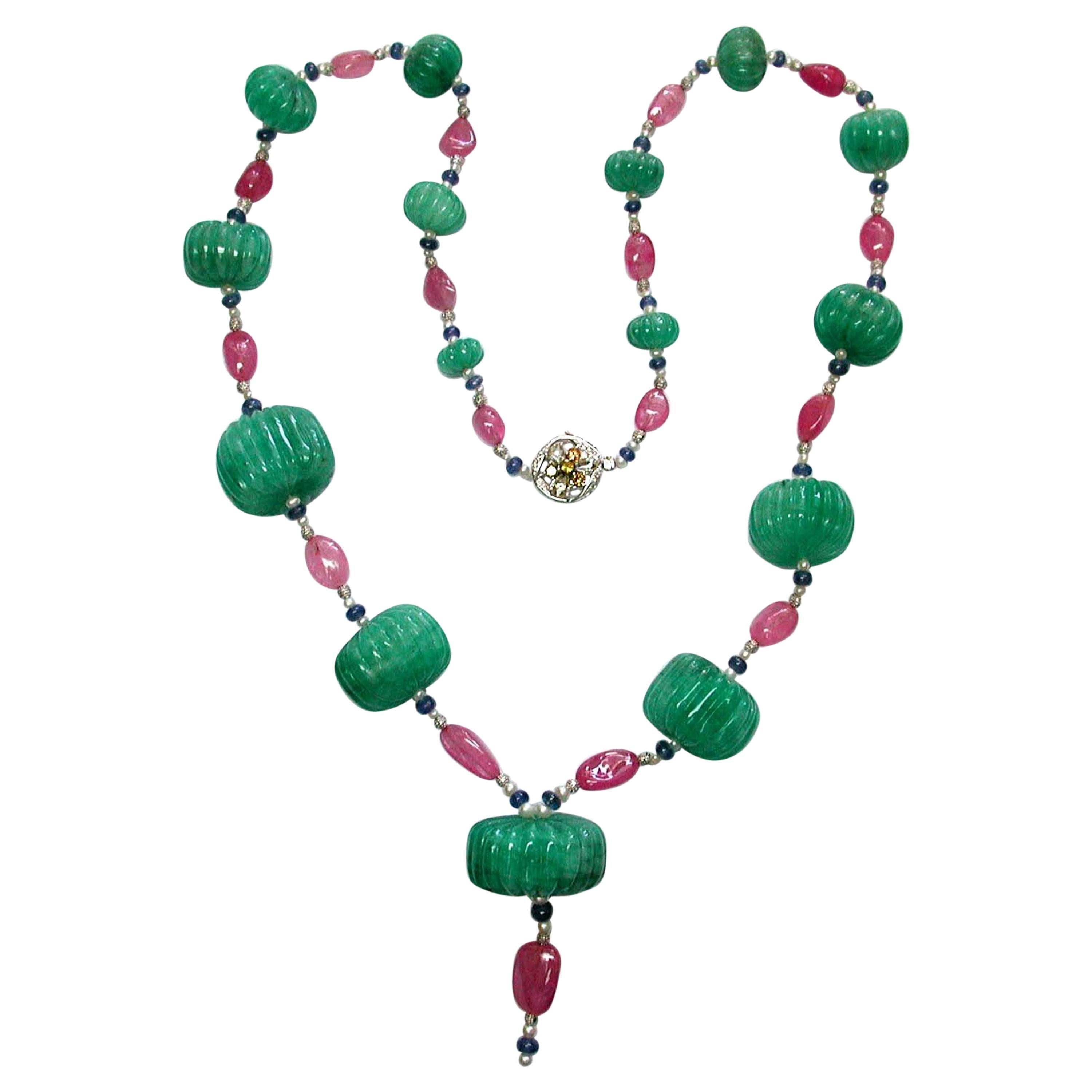Carved Emerald, Sapphire, and Pink Tourmaline Beads White Diamond Gold Necklace