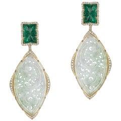Goshwara Carved Emerald And Jade With Diamond Earrings