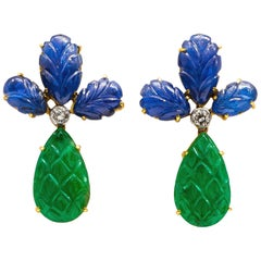 Carved Emeralds 12+ Carat and Sapphires 14+ Carat Earrings with Diamonds
