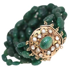 Carved Emeralds Rose-Cut Diamonds Bracelet, 1900