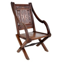 Carved English Gothic Revival Bishop's Throne Chair, A. W. Pugin, circa 1855