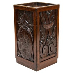 Carved English Mahogany Umbrella Stand