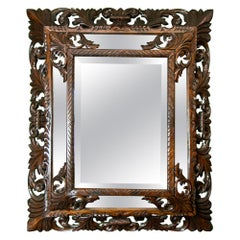 Carved English Oak Beveled Mirror