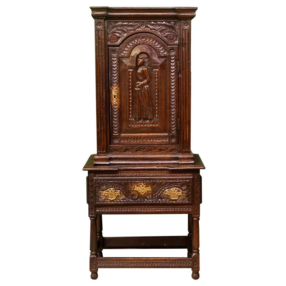 Carved English Oak Court Cupboard