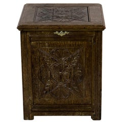 Carved English Oak Hearth Box