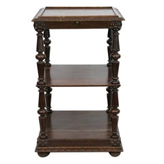 Carved English Three-Tiered Shelf