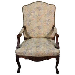 Carved English Walnut Georgian Armchair with Tapestry Upholstery and Nailheads