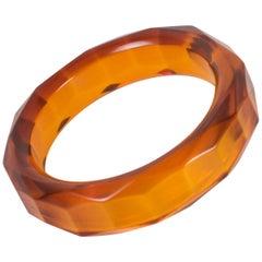 Carved Faceted Bakelite Bracelet Bangle Prystal Orangeade