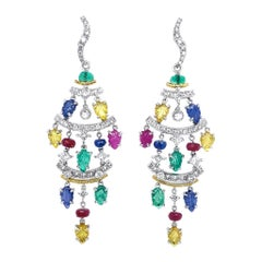 Carved Fancy Sapphires and Diamond Earrings by Dilys' in 18K Gold