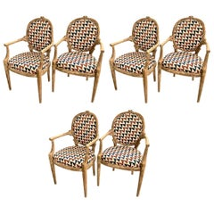 Carved Faux Bois Caned Chairs, Set of 6