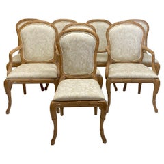 Carved Faux Bois Dining Chairs by Casa Stradivari, Set of 8