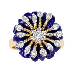 Carved Floral 8.21 Ct. Lapis with 0.21 Ct. Diamonds and Gold Ring, 14K Yellow