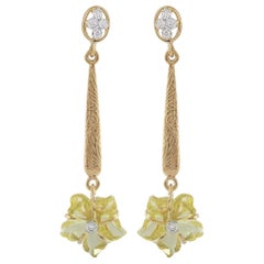 Carved Floral Lemon Topaz Drop Earrings with Diamonds, 14 Karat Gold