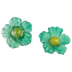Carved Flower 9 Karat Gold Blue Green Yellow Agate Stud Crafted Girl Earrings