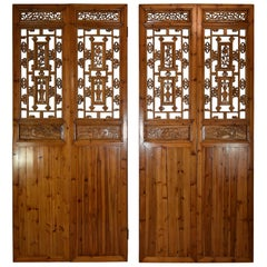Carved Four-Panel Asian Style Screen Flowers Vases and Dragons