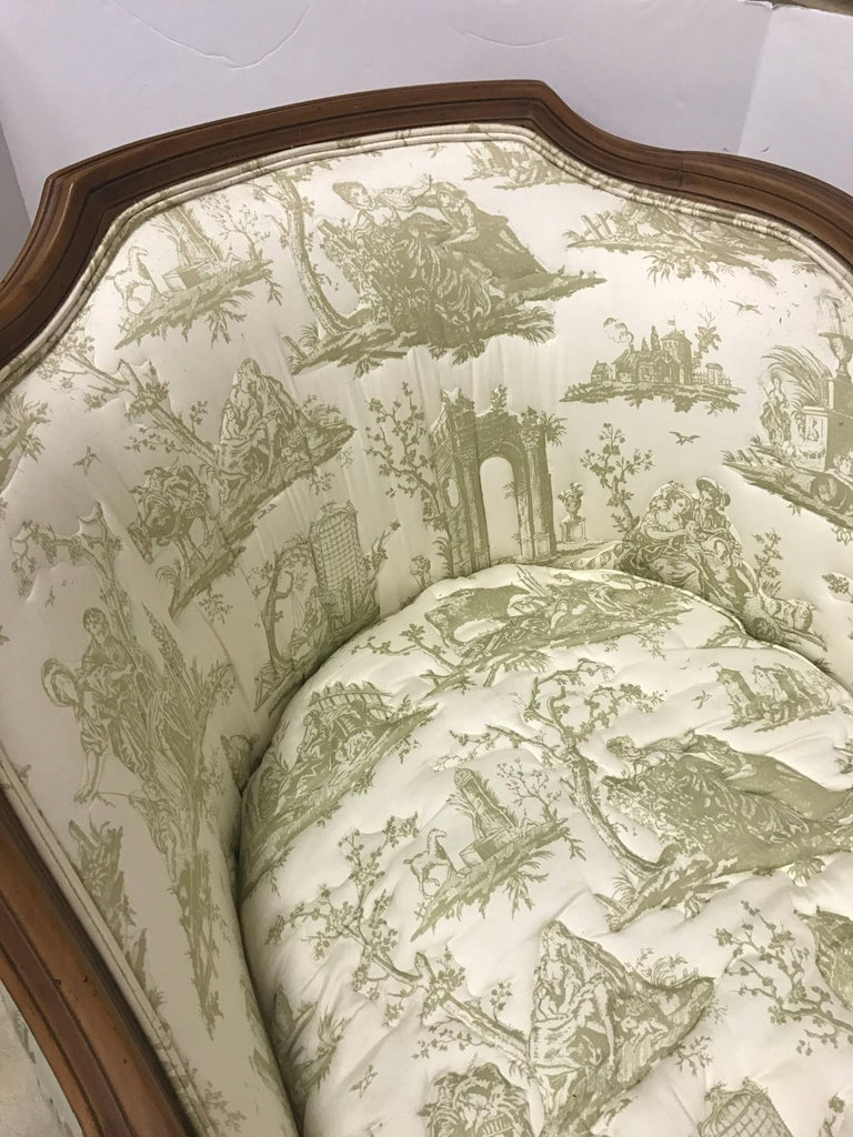 Carved French Chaise Fainting Couch With Quilted Toile