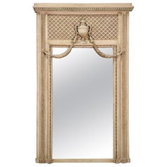 Carved French Distressed Creme Painted Louis XV Trumeau Mirror, circa 1940