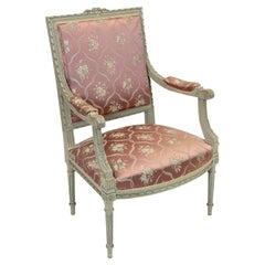 Carved French Fruitwood Painted Armchair