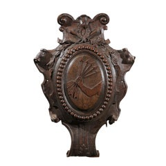 Carved French House of Rothschild Coat of Arms Wooden Cartouche with Five Arrows