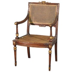 Carved French Louis XVI Cane Back and Seat Gilded Walnut Fauteuil Armchair