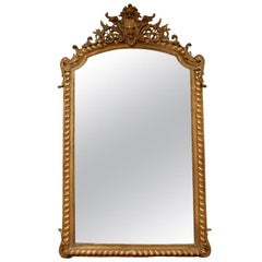 Carved French Mirror With Parcel Gilding