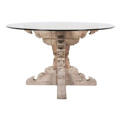 Carved French Renaissance Style Washed Chestnut Table Base with Round Glass Top