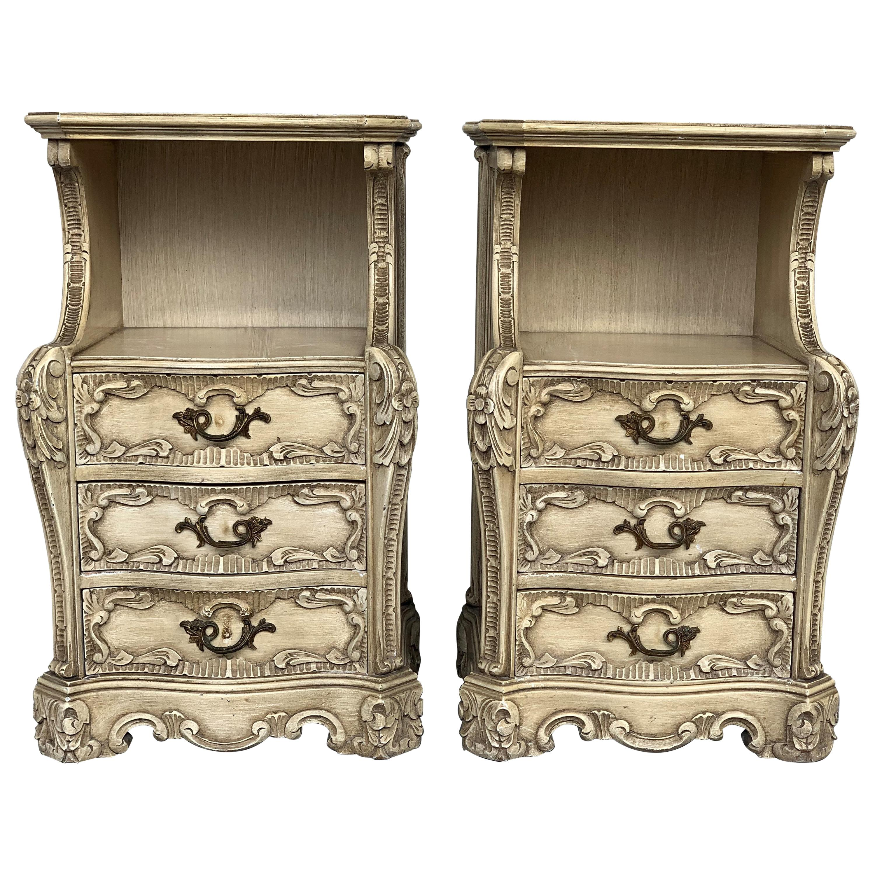 Carved French Rococo Style Pair of Nightstands with Open Shelve, circa 1930s