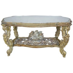 Carved French Rococo Style Tea Table with Silvered Mirror Top, circa 1930s