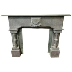 Carved French Slate Mantel Fireplace Chimneypiece Mantle, 19th Century