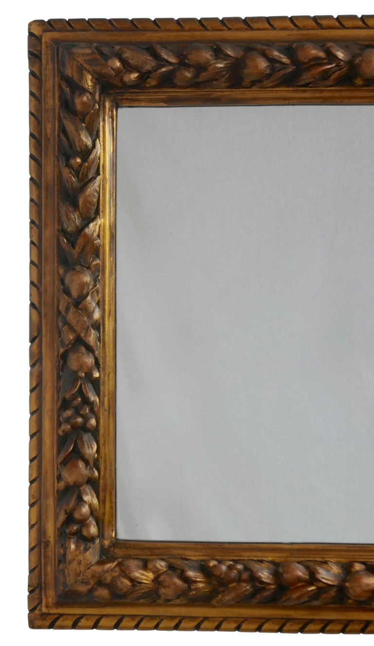 Carved Fruit and Gilt Framed Mirror, Italian, 19th Century For Sale 1