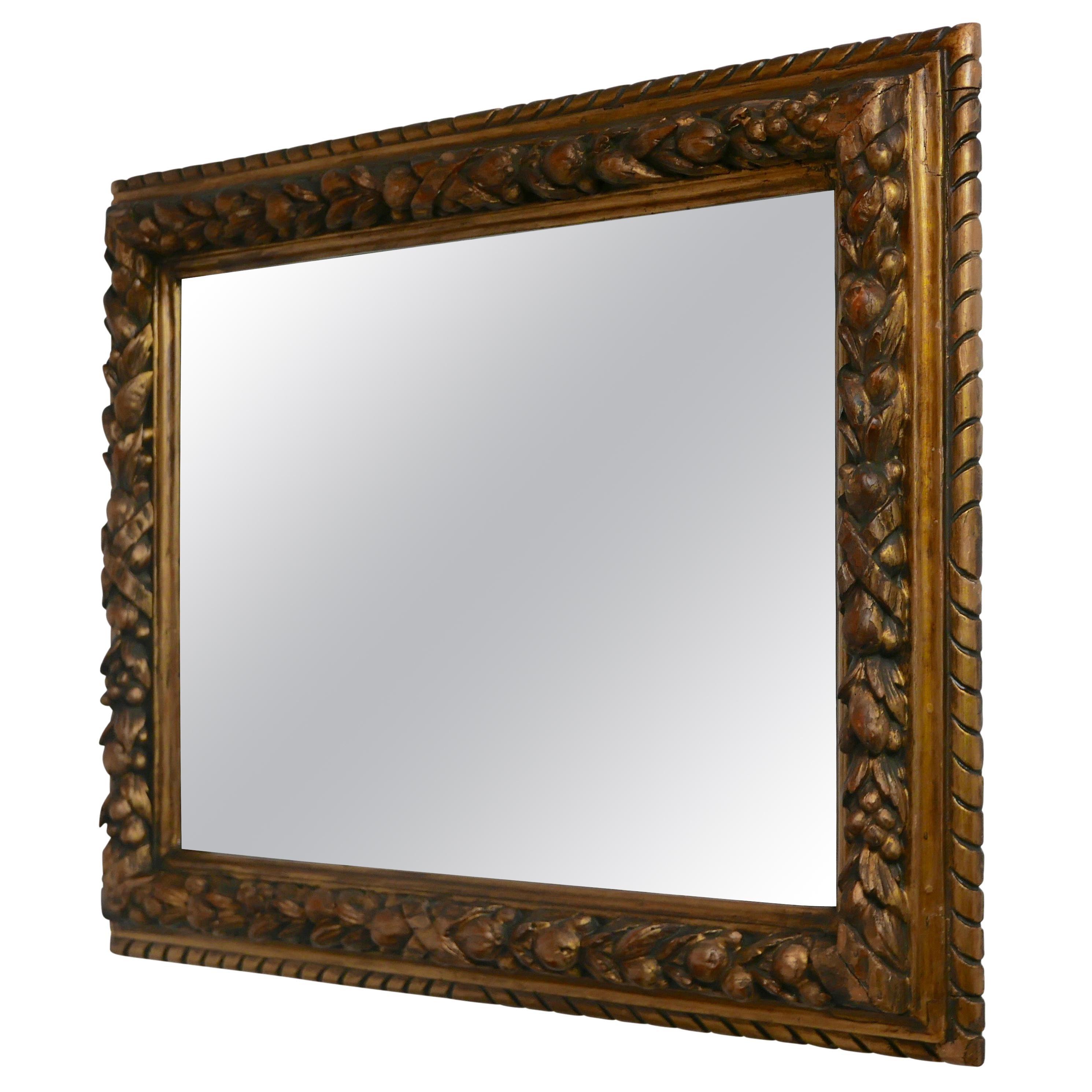 Carved Fruit and Gilt Framed Mirror, Italian, 19th Century