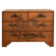 Carved German Colonial Asian Brown Art Deco Chest of Drawers from the 1920s