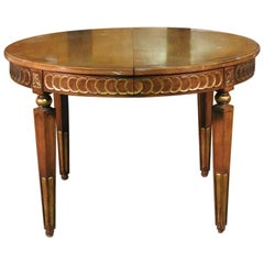 Carved Gilded Walnut French Louis XVI Directoire Style Round Dining Table