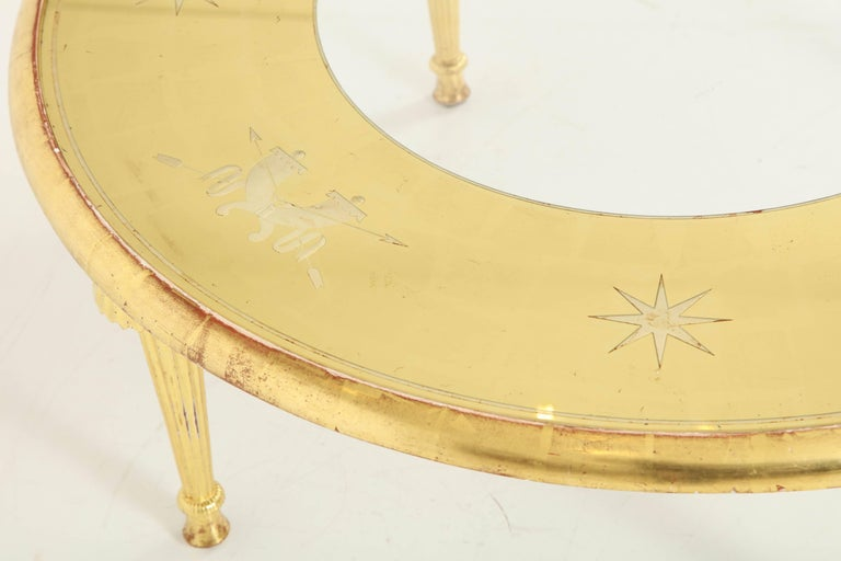 Carved Giltwood and Églomisé Top Coffee Table Attributed to Gio Ponti For Sale 5