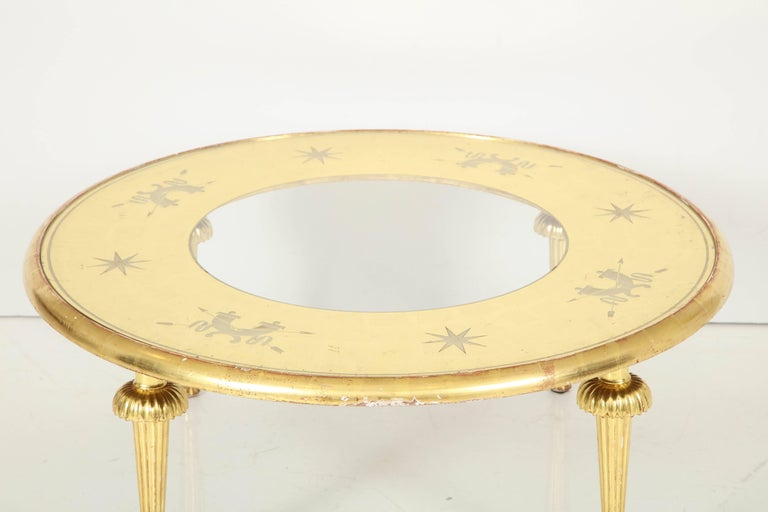 Carved Giltwood and Églomisé Top Coffee Table Attributed to Gio Ponti For Sale 3