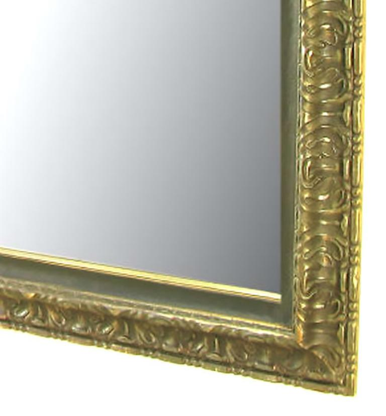Carved and Giltwood Egyptian Style Wall Mirror In Good Condition For Sale In Chicago, IL