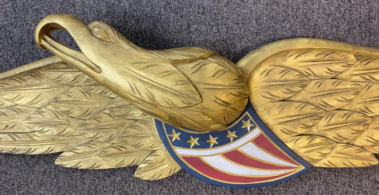 American Carved & Gilt Wooden Bellamy Style Eagle Wall Plaque by Paul White, Cape Cod MA For Sale