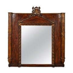 Carved Giltwood and Faux Bois Painted Mirror from Early 19th Century, France