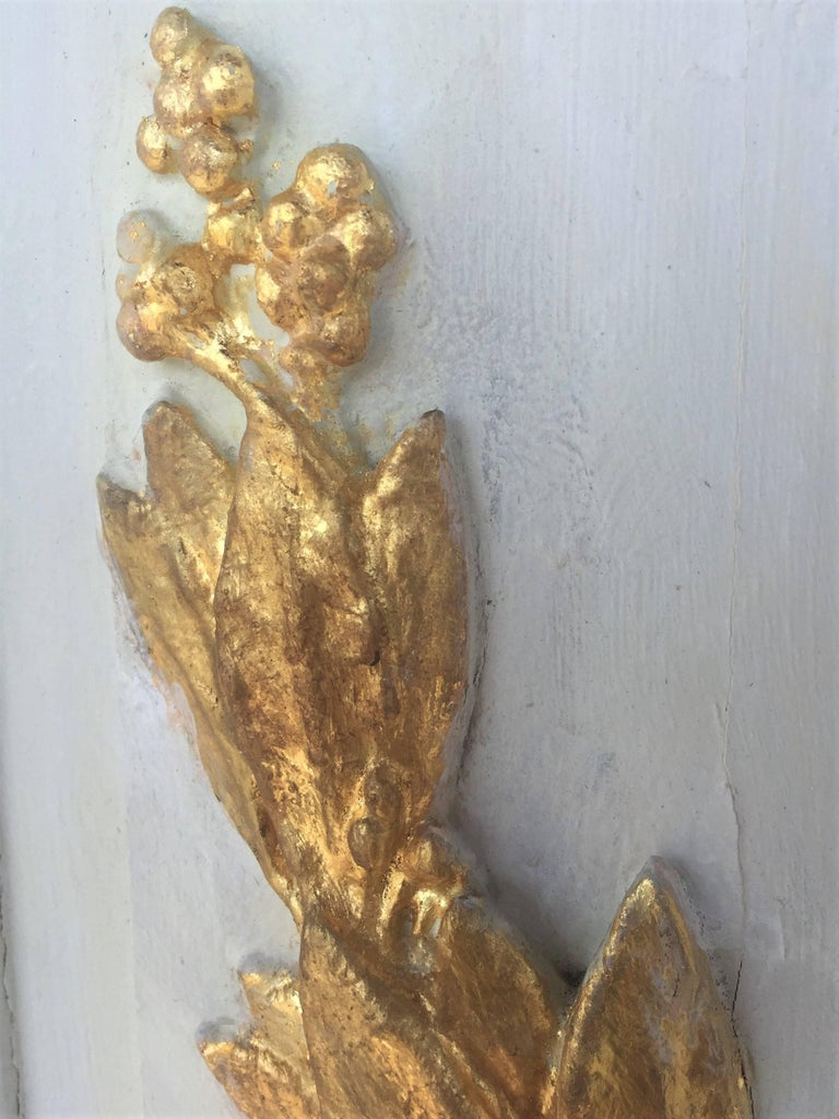 Carved Giltwood and Painted Boiserie Overdoor Frieze Panel with Cherubs Inset For Sale 4