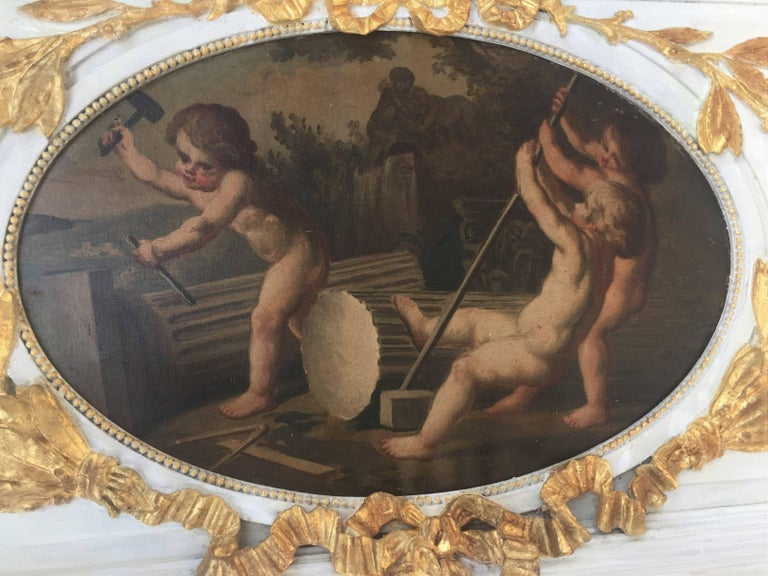 Carved Giltwood and Painted Boiserie Overdoor Frieze Panel with Cherubs Inset For Sale 6