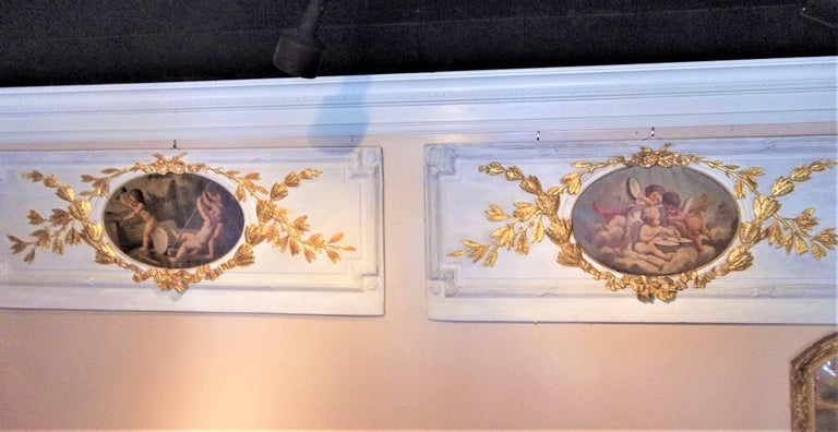 Carved Giltwood and Painted Boiserie Overdoor Frieze Panel with Cherubs Inset For Sale 7