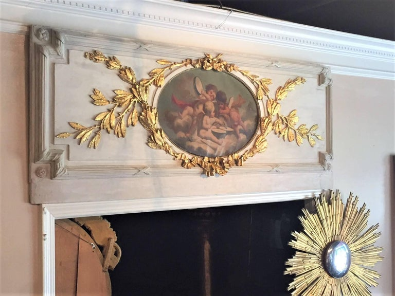 Carved Giltwood and Painted Boiserie Overdoor Frieze Panel with Cherubs Inset For Sale 8